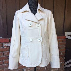 Hydraulic Soft Porcelain White Wool Pea Coat
